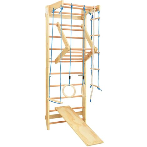Indoor Climbing Playset with Ladders Rings Slide Wood