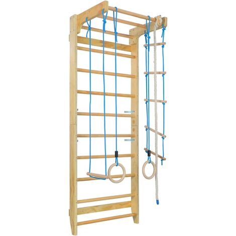 Indoor Climbing Playset with Ladders Rings Wood