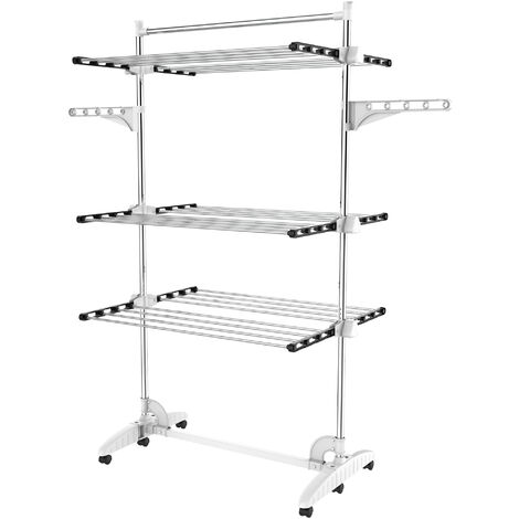 Indoor Foldable Airer, Laundry Drying Rack, 3 shelves, Black/White, with wings and top bar, Material: Stainless steel tubes
