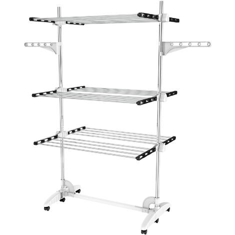 Indoor Foldable Airer, Laundry Drying Rack, 3 shelves, Black/White, with wings, Material: Stainless steel tubes
