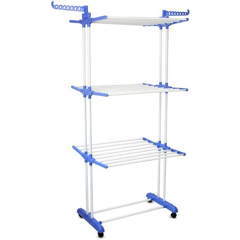 Indoor Foldable Airer, Laundry Drying Rack, 3 shelves, Blue, with Shoe Rack, Size: 75-126 x 64 x 168 cm (29.5-49.6 x 25.2 x 66.1 inch)