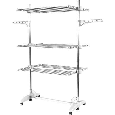 Indoor Foldable Airer, Laundry Drying Rack, 3 shelves, White, with wings, Material: Stainless steel tubes