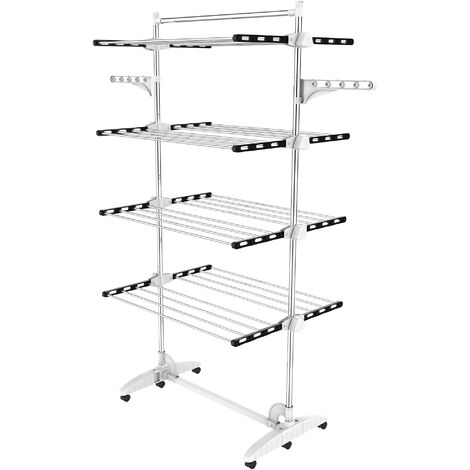Indoor Foldable Airer, Laundry Drying Rack, 4 shelves, Black/White, with wings and top bar, Material: Stainless steel tubes