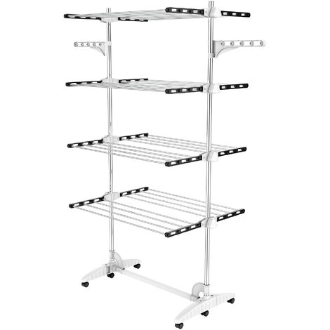 Indoor Foldable Airer, Laundry Drying Rack, 4 shelves, Black/White, with wings, Material: Stainless steel tubes