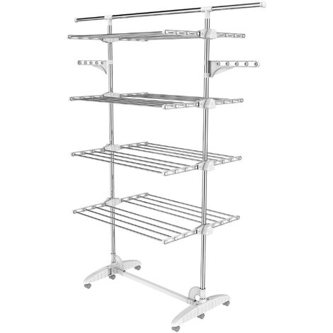 Indoor Foldable Airer, Laundry Drying Rack, 4 shelves, White, with wings and extended top bar, Material: Stainless steel tubes