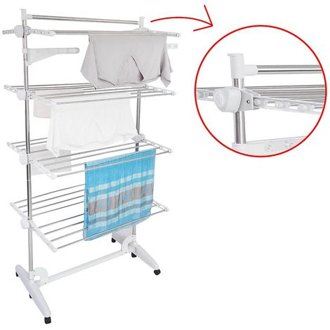 Indoor Foldable Airer, Laundry Drying Rack, 4 shelves, White, with wings and top bar, Material: Stainless steel tubes