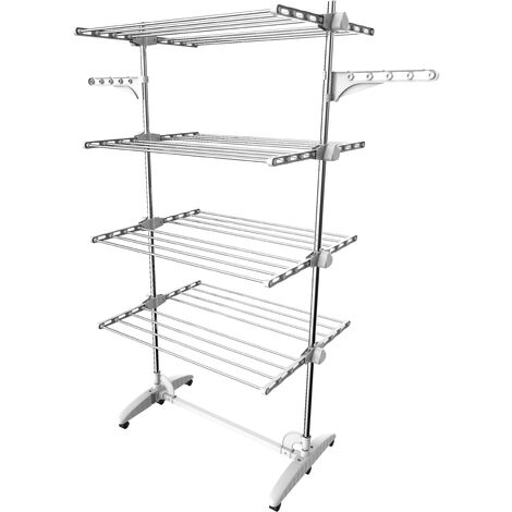 Indoor Foldable Airer, Laundry Drying Rack, 4 shelves, White, with wings, Material: Stainless steel tubes