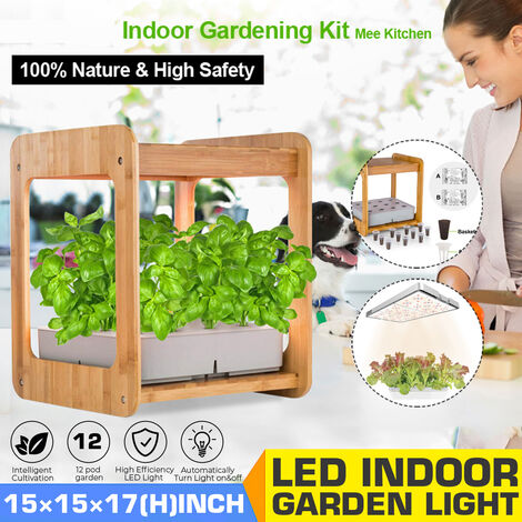 Indoor Gardening Grow Light with Bamboo Frame Plant Grow Box Hydroponic Cabinet Planter Water Hydroponic Garden System Kit (EU Plug)