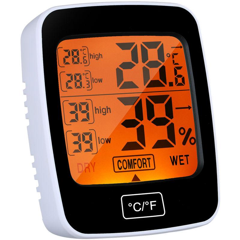 Image of Asupermall - Indoor Hygrometer Orange Beleuchtetes Touch-Tasten Schwarz