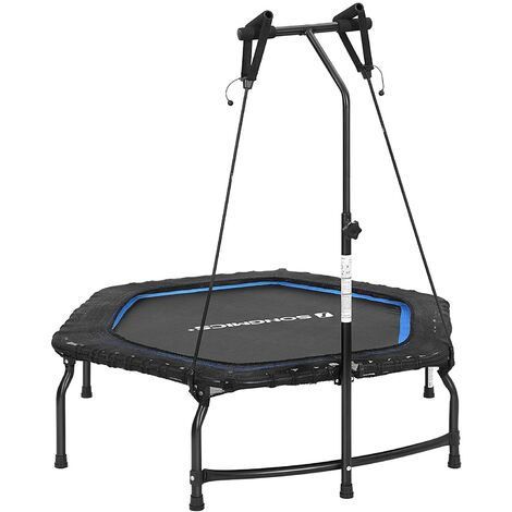 Indoor Mini Fitness Trampoline with Adjustable Handle, Aerobic Small Trampolines with Bands, Folding Exercise Workouts for Adults, Maximum Weight 120kg, 128 x 110 cm, 44-Inch STR44BUV1