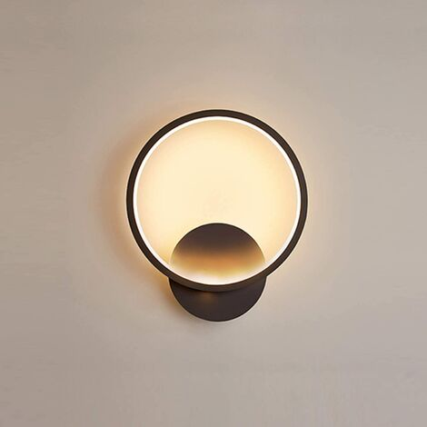 Indoor Minimalist Black Wall Light Led Wall Sconce Creative Round Wall Lamp Warm White for Living Room Bedroom Hallway Corridor Stairs