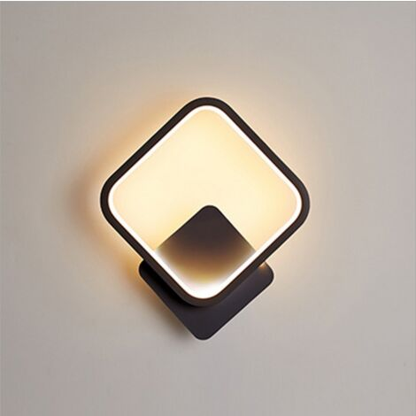 Indoor Minimalist Black Wall Light Led Wall Sconce Creative Square Wall Lamp Warm White for Living Room Bedroom Hallway Corridor Stairs