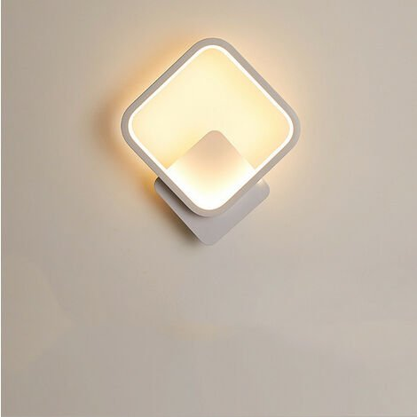Indoor Minimalist White Wall Light Led Wall Sconce Creative Square Wall Lamp Warm White for Living Room Bedroom Hallway Corridor Stairs
