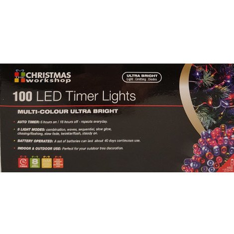 Indoor/Outdoor 100 LED Multi Coloured Ultra Bright Fairy Lights with Timer