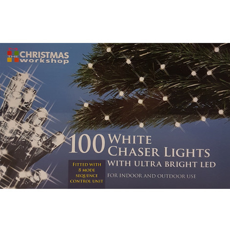 Indoor/Outdoor 100 LED Warm White Chaser Lights with Sequencer