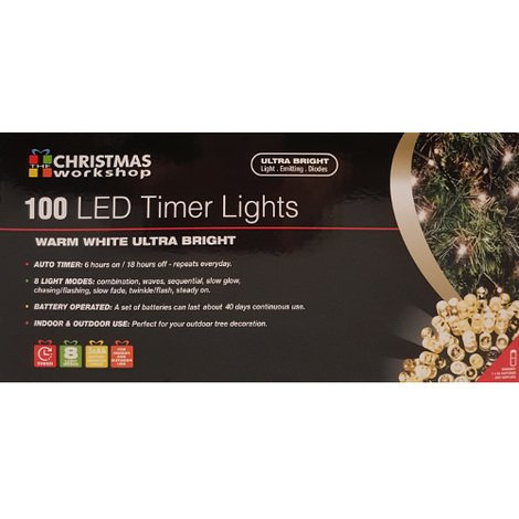 Indoor/Outdoor 100 LED Warm White Ultra Bright Fairy Lights with Timer
