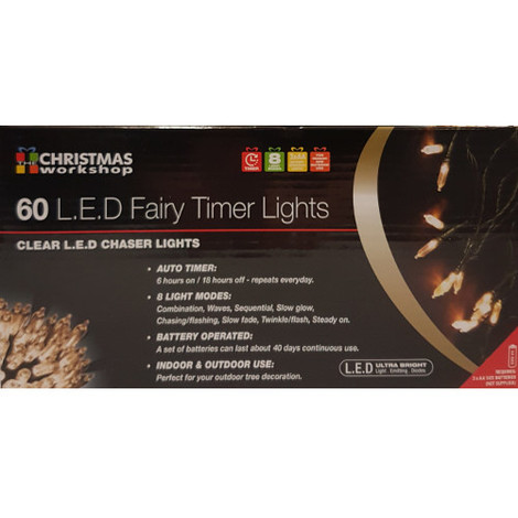 Indoor/Outdoor 60 LED Clear Fairy Lights with Timer