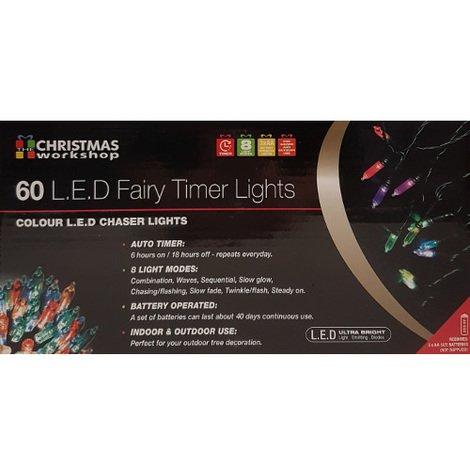 Indoor/Outdoor 60 LED Coloured Fairy Lights with Timer