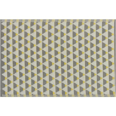 Indoor Outdoor Area Rug 120 x 180 cm Triangle Pattern Grey and Yellow Karnal