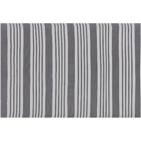 Indoor Outdoor Area Rug Mat 120 x 180 cm Synthetic Grey Stripes Delhi