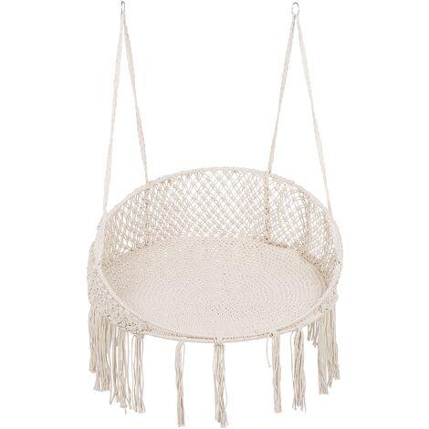 Indoor Outdoor Boho Swing Hanging Chair Cream Cotton Wooden Frame Woven Bunyan