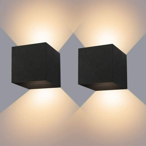 """main image of """"Indoor / Outdoor Wall Lamp 12W * 2 Black LED Wall Lights Waterproof IP65 Adjustable Lamp Light orientable Up and Down 3000K Design Warm White Wall Lights for Living Room Bedroom Hallway"""""""