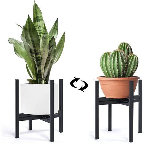 "main image of ""Indoor plant stand, metal planter stand with plant bag, outdoor potted plant stand, 10 inch mid century flower pot stand for patio garden, corner balcony, living room, bedroom, black"""