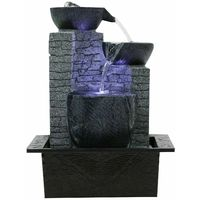 Indoor Tabletop Fountain Contemporary Cascading Bowls Water Feature with LED Lights