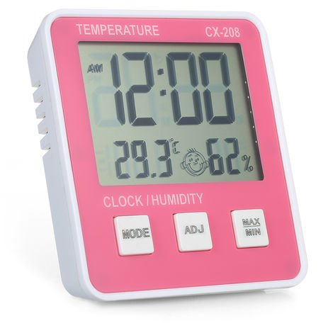 Indoor temperature and humidity meter CX-208 pink without battery delivery