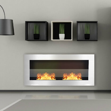 Indoor Wall Mounted Recessed Bio Ethanol Fireplace, 120CM Black