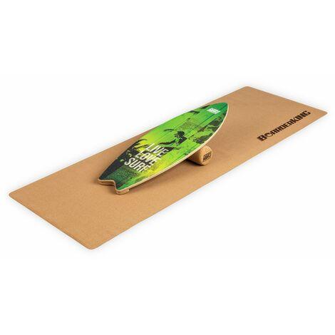 Indoorboard Wave Tabla de equilibro + Esterilla + Rodillo Madera/Corcho Verde