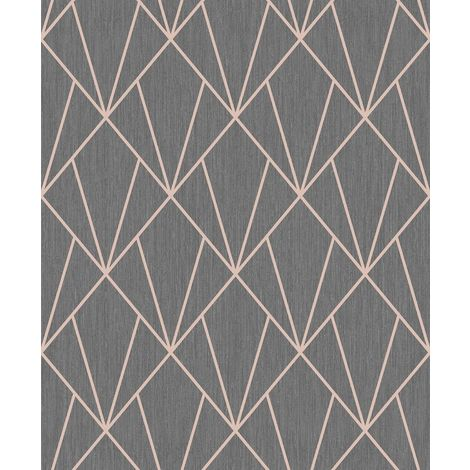Indra Blown Vinyl Wallpaper Charcoal and Rose Gold