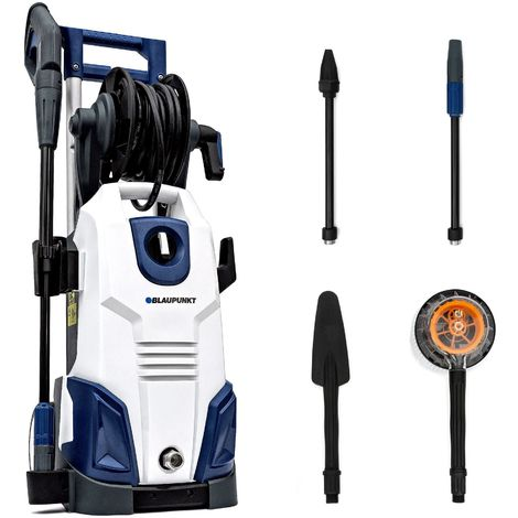 Induction Pressure Washer PW7000 - 2100W 165bar High Power AC Electric Aluminium Pump with Hi/Lo Pressure Nozzle, Turbo Nozzle and Accessories Kit - [Blaupunkt Power Tools]