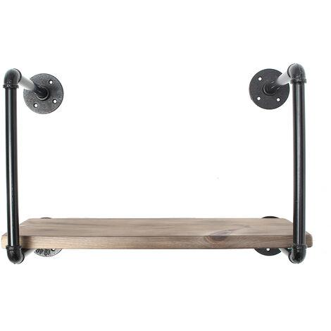 Industria Rustic Wood Iron Iron Frame Floating shelf Shelving Rack Wall Mounted Mohoo