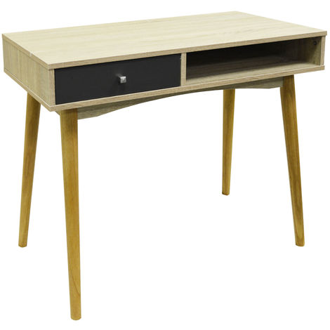 INDUSTRIAL - 1 Drawer Office Computer Desk / Dressing Table - Oak / Grey