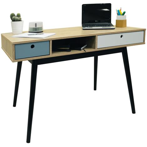 INDUSTRIAL - 2 Drawer Office Computer Desk / Dressing Table - Oak / Black