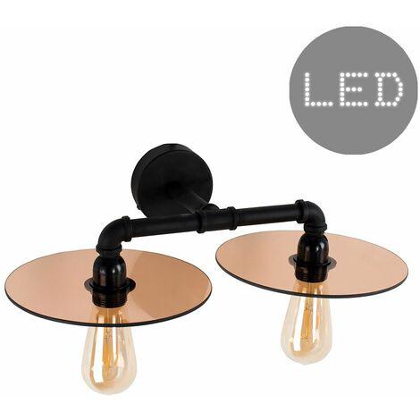 Industrial 2 Way Twin Black Wall Light + Glass Amber Light Shades + 4W LED Filament Bulbs - Warm White