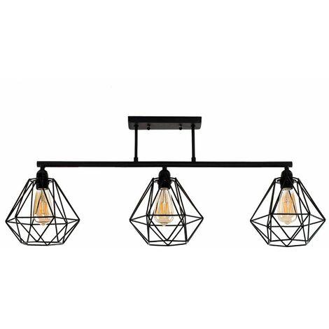 Industrial 3 Way Black Bar Ceiling Light - No Shades - Black