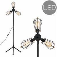 Industrial 3 Way Black Tripod Floor Lamp + Black & Brass Cage Shades + 4w LED Filament Bulb - 2700K Warm White