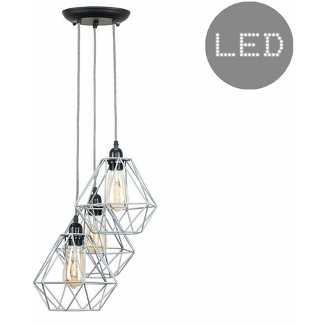 Industrial 3 Way Droplet Ceiling Pendant Light Fitting with Metal Cage Shades + 4w LED Filament Bulbs