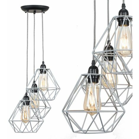 Industrial 3 Way Droplet Ceiling Pendant Light Fitting with Metal Cage Shades
