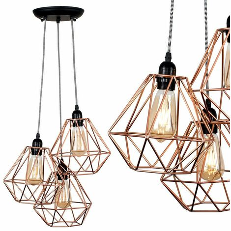 Industrial 3 Way Droplet Ceiling Pendant Light - Copper