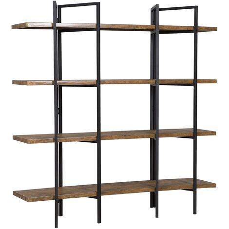 Industrial 5-Shelf Storage Bookcase Dark Wood Finish Metal Black Frame Compton