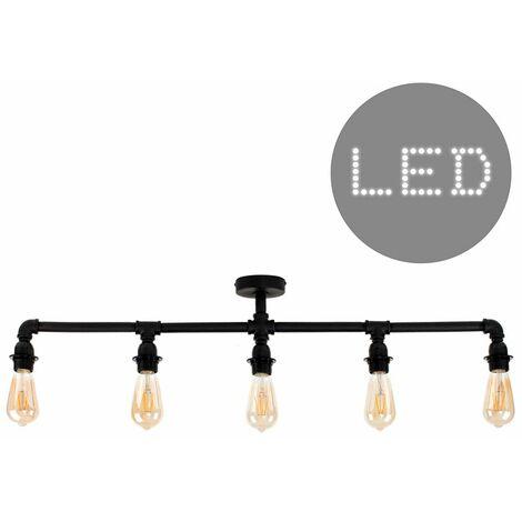 Industrial 5 Way Bar Ceiling Light + 4W LED Filament Bulbs
