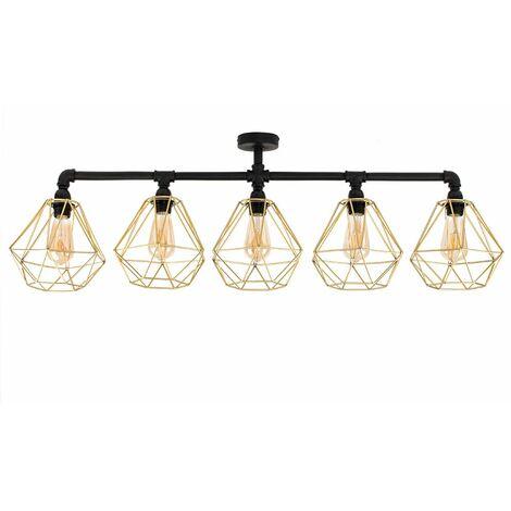 Industrial 5 Way Bar Ceiling Light - Black & Gold - Black