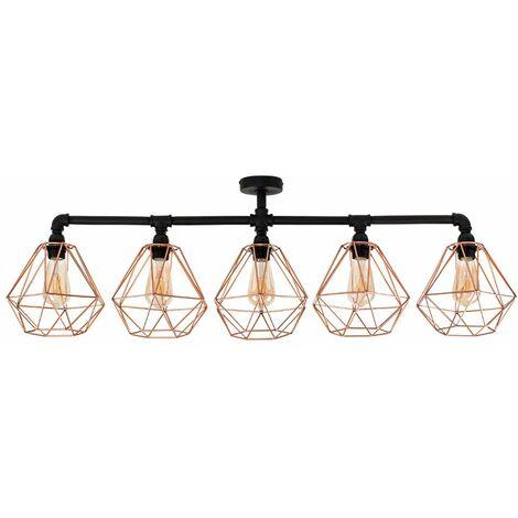 Industrial 5 Way Bar Ceiling Light - No - Black