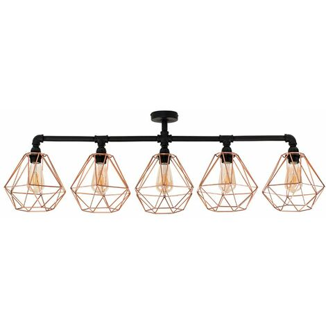 Industrial 5 Way Bar Ceiling Light with Cage Shades + 4W LED Filament Bulbs - Grey