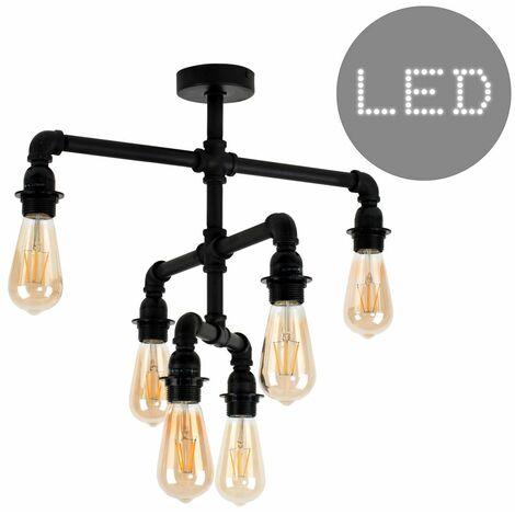 Industrial 6 Way Satin Black 3 Tier Ceiling Light - Add LED Bulbs