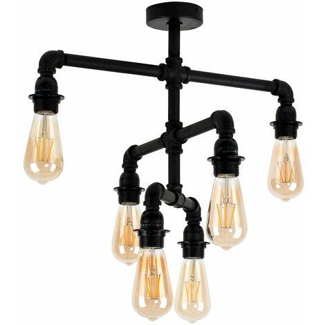 Industrial 6 Way Satin Black 3 Tier Ceiling Light - No Bulbs