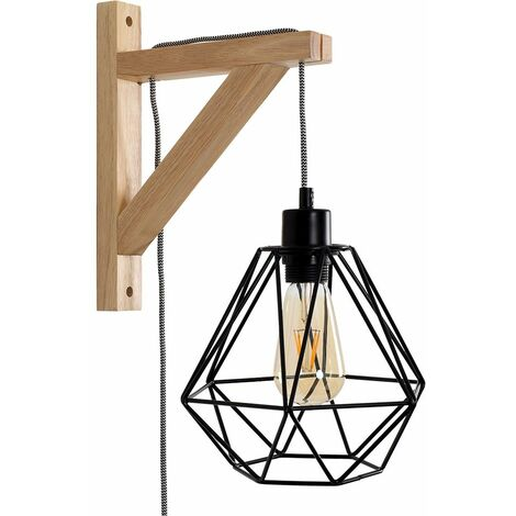 Industrial Adjustable Plug In Bracket Wall Light in a Wooden - Metal Cage Shade & 4W LED Filament Bulb